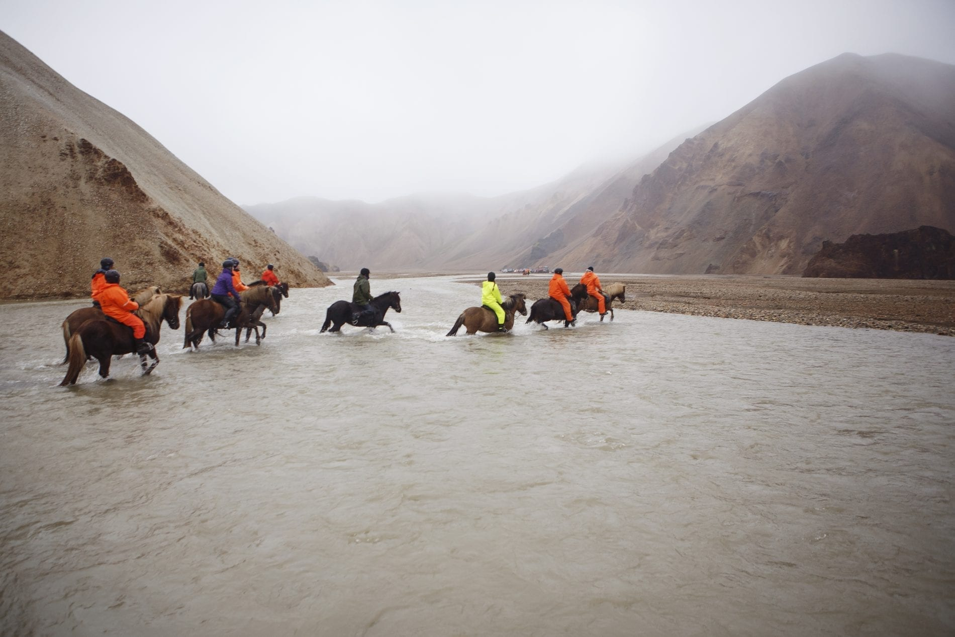 Crossing a river horse riding during sheep round up