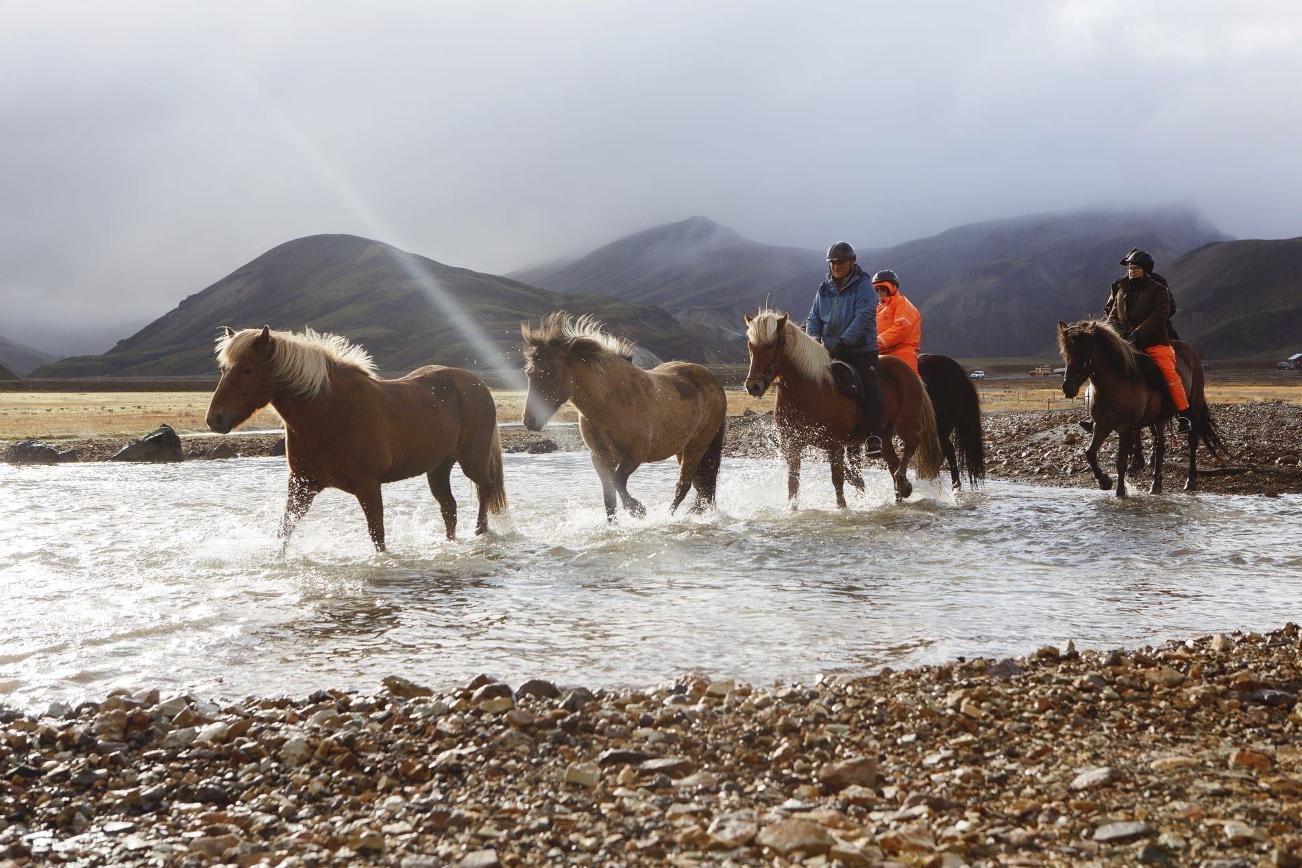 Horseriding over a river in the vicinity of Mt. Hekla
