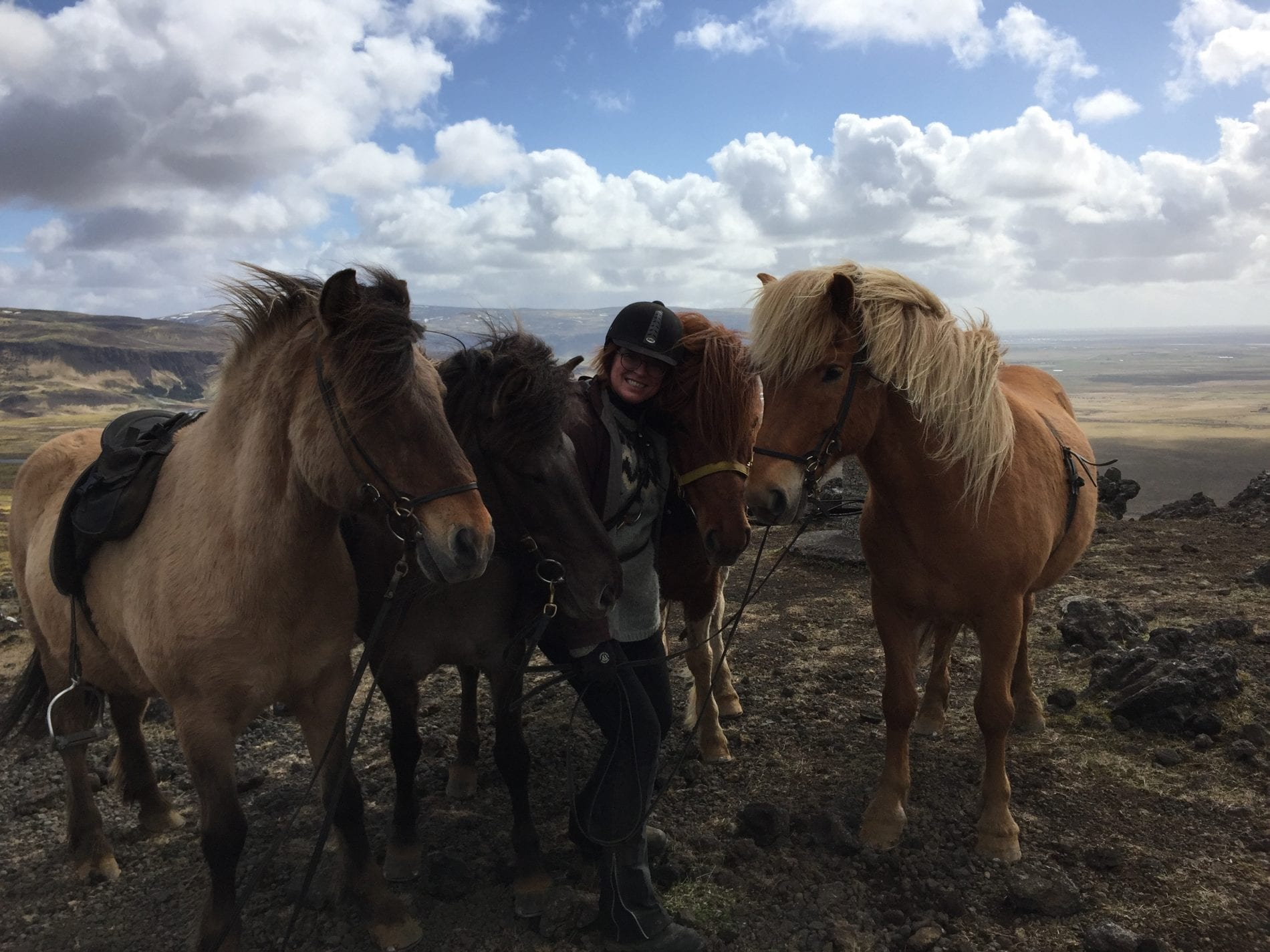 A woman and four horses on a riding break